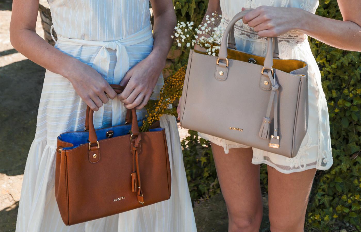 bolsos marrón y beige