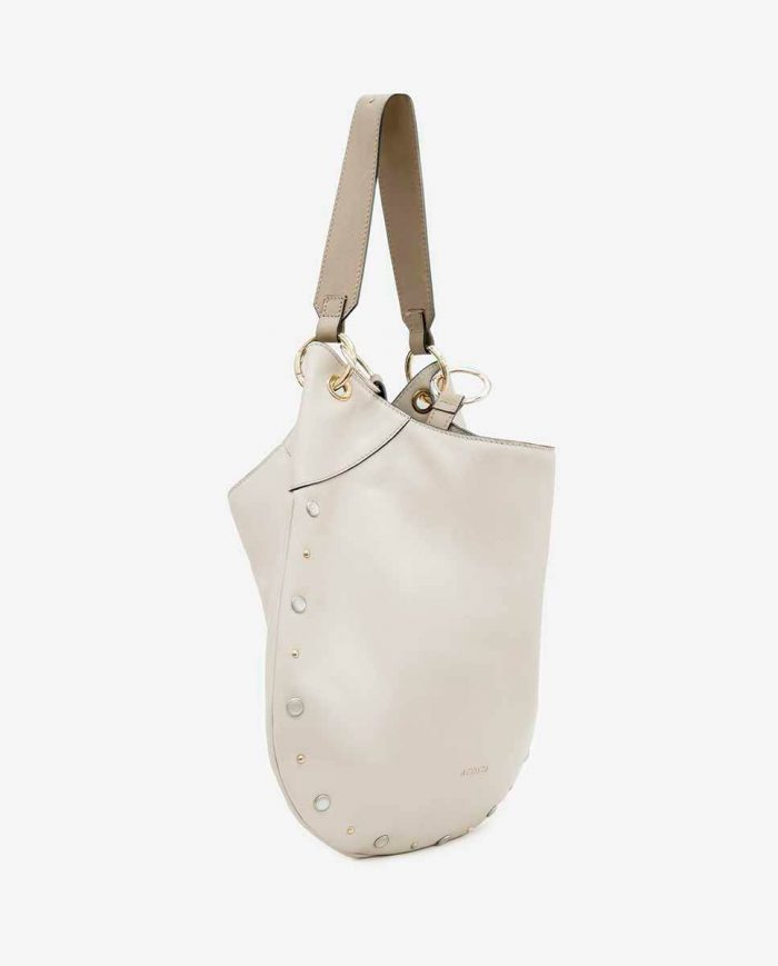 BOLSO SHOULDER HOBO REVIVAL BLANCO Y TOPO