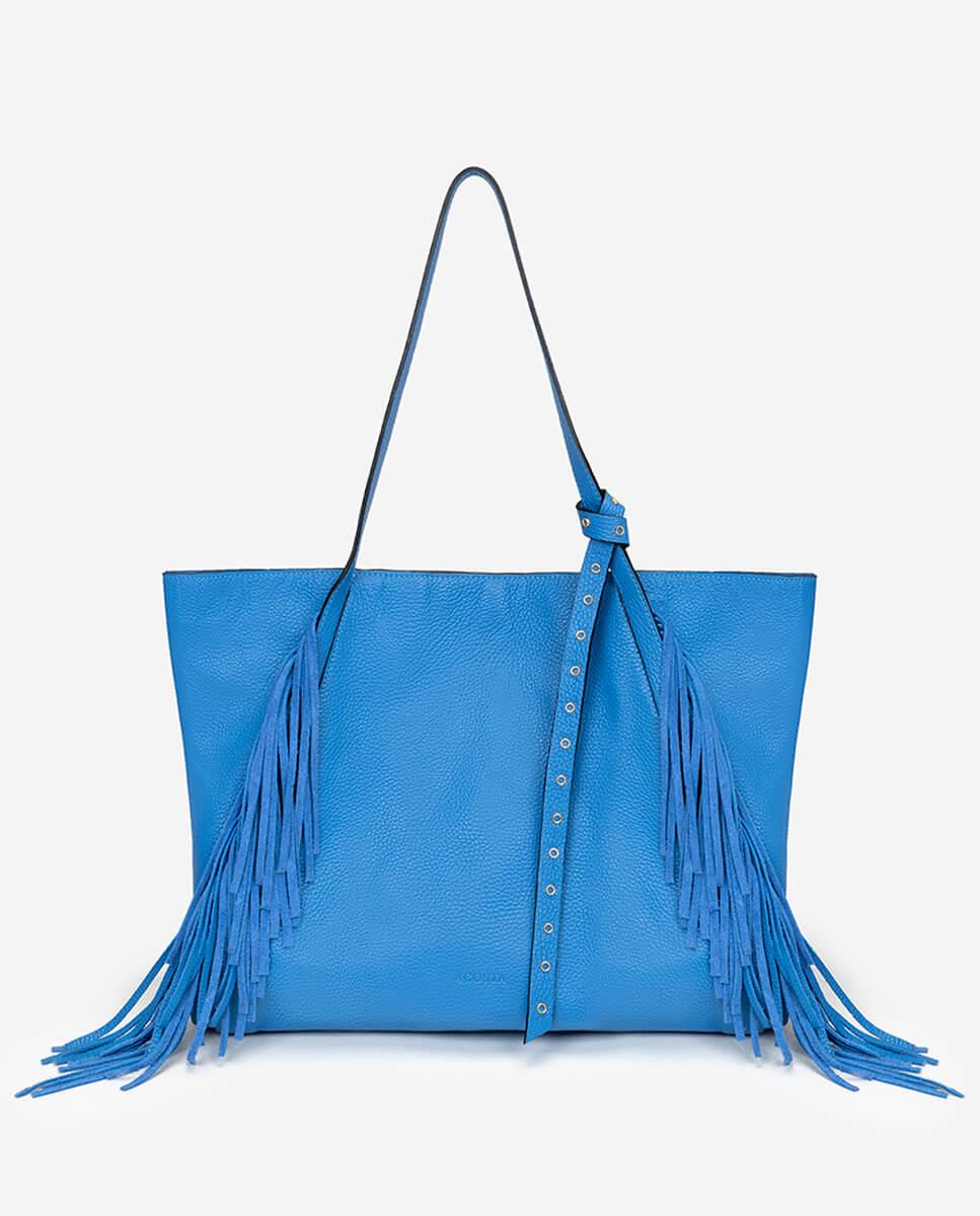 Bolso shopping lazo flecos piel azul ceruleo Go West
