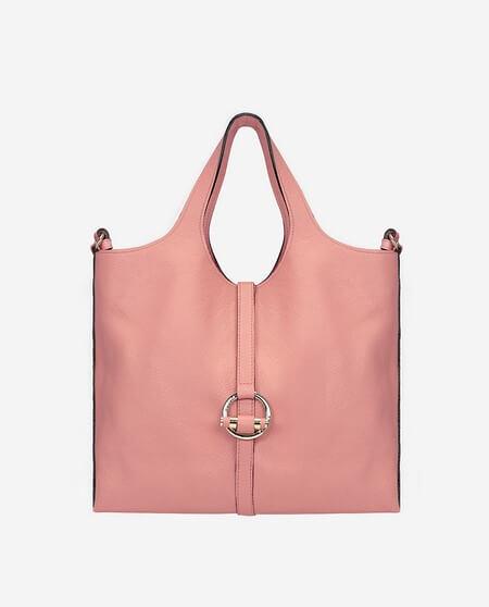 Bolso de mano piel grabada rosa