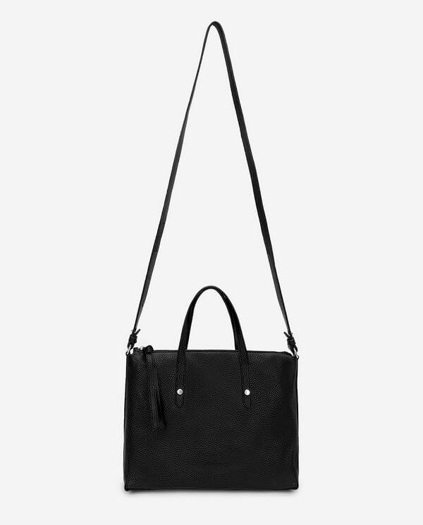 Bolso Shopping de piel grabada negro colección Esenciales Acosta