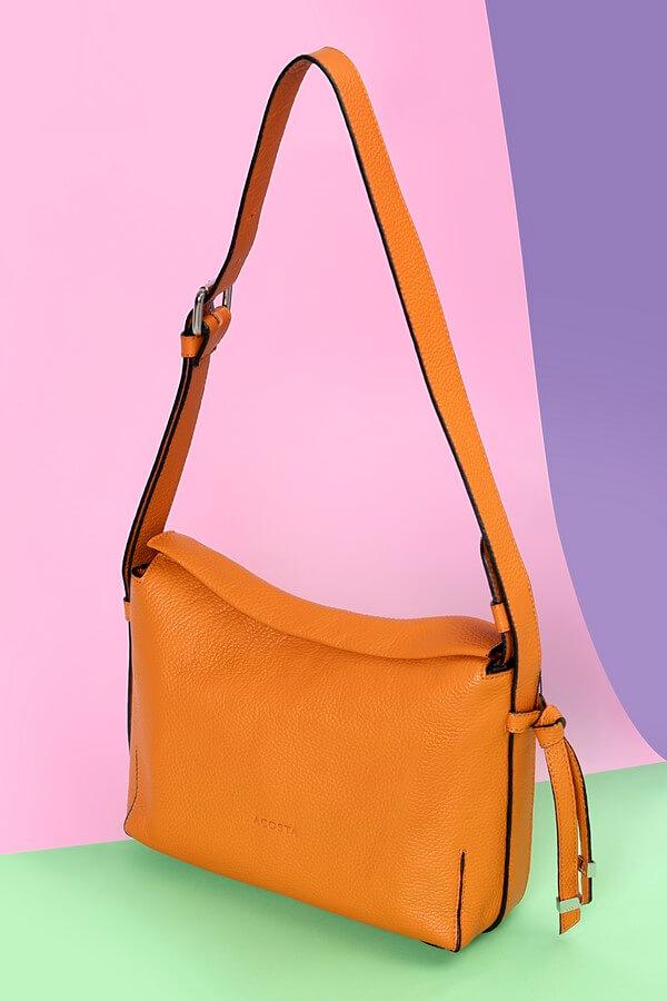 Bolso pequeño colección Esenciales piel naranja