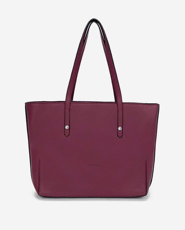 Bolso Shopping piel color berenjena colección Esenciales